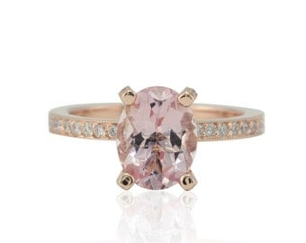 Morganite Engagement Ring - Oval cut Pink Morganite Solitaire with Diamond Eternity Shank in 14k Rose Gold - LS4773