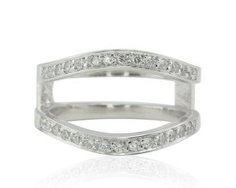 Diamond Ring Guard - Engagement Ring Wrap with Pave set Diamonds in 14k White Gold - Diamond Wedding Bands - LS4766