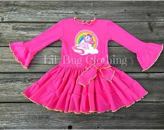 Unicorn Pony Girl Dress, Rainbow Unicorn Pony Birthday GIrl Dress, Unicorn Birthday Girl Dress, Unicorn Girl Birthday Party Dress Outfit
