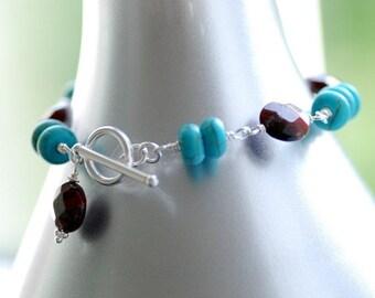 Semi Precious Stone Bracelet, Turquoise Bracelet, Southwestern Jewelry, Rust Jasper with Sterling Silver - Desert Sky