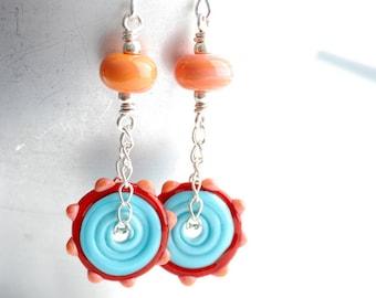 Colorful Earrings, Funky Statement Earrings, Glass Jewelry, Long Dangle Earrings, Red and Aqua Earrings, Neon Jewelry, Playful Earrings