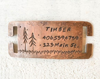 Not all dog tags are created equal. Pet id tags handcrafted in Bozeman, Montana personalized to your custom request. Timber Quiet Tag