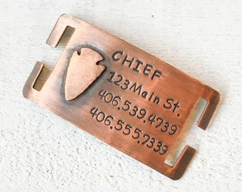 Our dog tags make a unique personalized gift. Each pet id tag is crafted in our Bozeman, Montana studio by dog lovers. Chief Quiet Pet Tag
