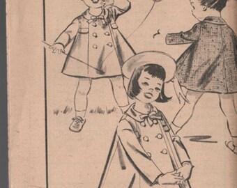 Vintage 1950s Toddlers Sunday Coat Sewing Pattern Advance 8790  50s Children's Pattern Size 2 UNCUT No Envelope