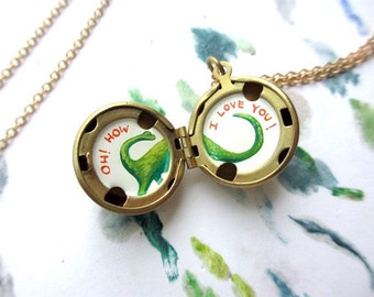 Tiny Oil-Painting, Miniature Brontosaurus Locket, I Love You Dinosaur Necklace