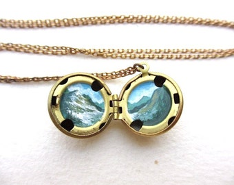 Miniature Mountain Landscape, Tiny Art Locket, Hand-Painted Necklace