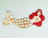 Reserved for Caroline S.  Do not buy if you are not Caroline, Mermaid Wall Art Hanging Red Head Coastal Decor Shells