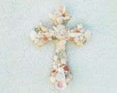 Shell Cross,Cross with Shells, Shell Crucifix, Seashell Cross,Pastel,Easter gift, Christian Priest Minister Gift, Religious Gift, Baby Gift