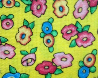 Mary Engelbreit Fabric Little Flowers on Yellow background 3 Yard Cranston Fabric