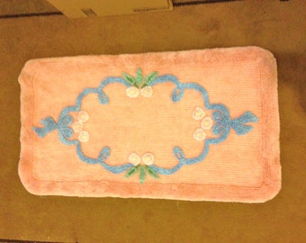 Vintage Chenille Rig Pink with BLue GORGEOUS!