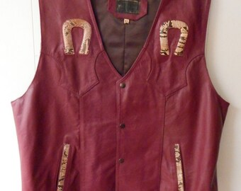 Western / Motorcycle Brown Leather Vest with Snakeskin Horse Shoes  size- Men's XL made by El Venado