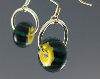 Yellow & Teal Zipper bead earrings