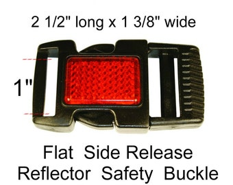 "8 BUCKLES - 1"" - Side Release - SAFETY Reflector Buckle - Plastic, Black"