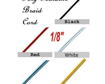 """20 Yards - 1/8"""" - Poly Soutache Braid Cord, 1/8 inch, 6 Colors to Choose From"""