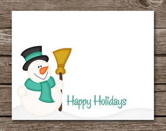 Snowman Note Cards, Snowman Cards, Holiday Cards, Christmas Cards, Snowman Stationery, Personalized Note Cards, PRINTABLE