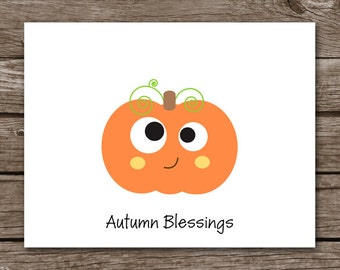 PRINTABLE Pumpkin Note Cards, Autumn Note Cards, Fall Note Cards, Halloween Cards, Thanksgiving Cards, Personalized Note Cards
