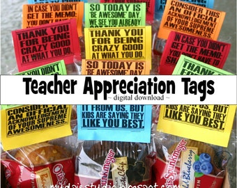Teacher Appreciation Thank You Tags Labels - Instant Digital Download