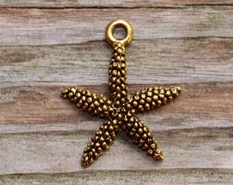 1 Antique Gold Starfish Charm -  Nunn Designs