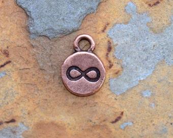 2 Antique Copper Infinity Charms, Nunn Designs 12.7 x 9.1mm