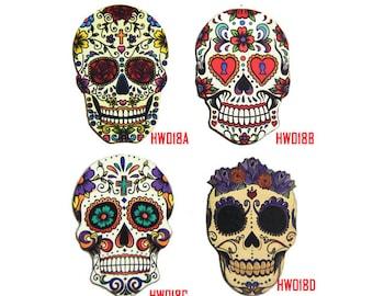 Sugar Skull Charms, Laser Cut Wood Skull Pendants