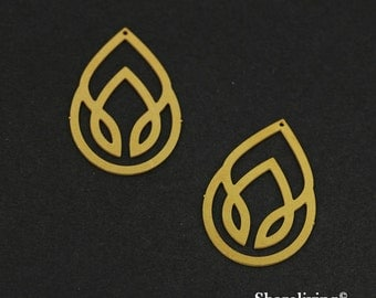 Exclusive - 10pcs Raw Brass Teardrop Charm / Pendant, Fit For Necklace, Earring, Brooch - TG163