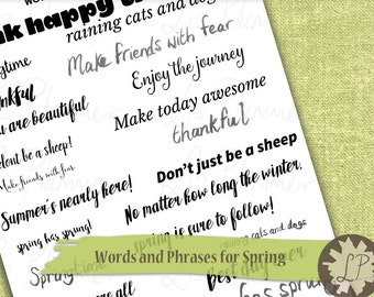 Inspirational Words Printable Quote Stickers, Inspiring Quotes, Printable Phrases, ECLP, Life Planners, Websters Pages Filofax, Kikki K