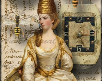 Queen Bee Digital Collage Greeting Card (Suitable for Framing)