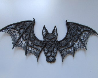 Embroidered Bat Lace Applique with moving parts
