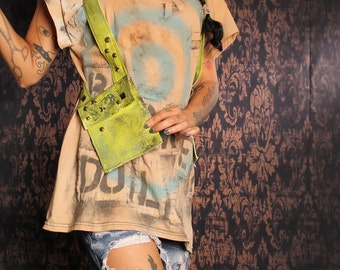 Apocalyptic Holster Bag, Cell Phone Purse Pouch, studded bag,wasteland purse, grunge green fake leather, Festivals fashion, playa handbag
