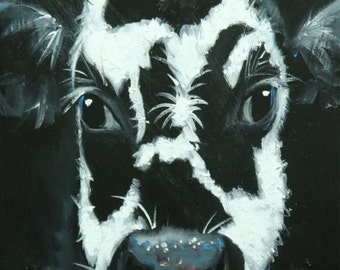 Cow painting 1122 12x16 inch original animal portrait oil painting by Roz