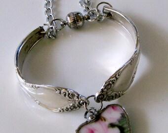 Broken China Bracelet - Spoon Bracelet - Vintage Spoon Bracelet - 1952 Elegant Lady Vintage Spoons - Charm Bracelet