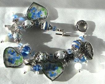 Broken China Bracelet - Bracelet - Charm Bracelet - Handmade Bracelet - Vintage China Bracelet - Heart Bracelet