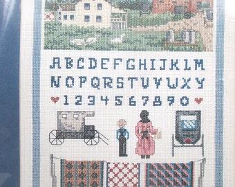 Vintage Counted Cross Stitch Kit Bucilla 40024 Amish Farm Sampler Linda Meyers