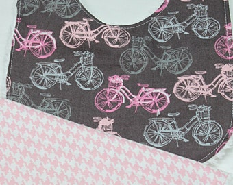 Choose Set of 2 Bibs for a Burp Cloth and Bib In Girl Bicycle, Baby Shower Gift, New Mom Gift