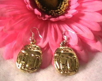 Scarab Earrings, Gold Scarab Earrings, Gold Earrings, Egyptian Scarab Earrings, Gift for Women, Sister, Surgical Steel