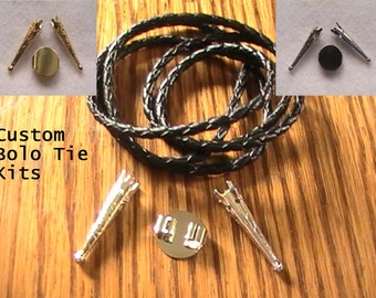 Jewelry Kit, Bolo Tie Kit, Black Leather,  Silver Bolo Tie Kit, Gold Bolo Tie Kit, Diy Supplies, Craft Kit
