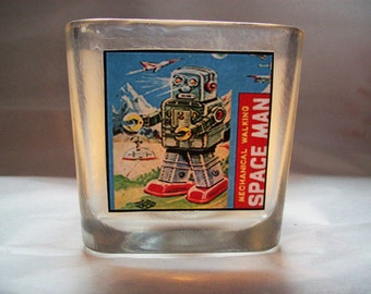 robot candle holder retro 1950's vintage tin toy outer space kitsch votive