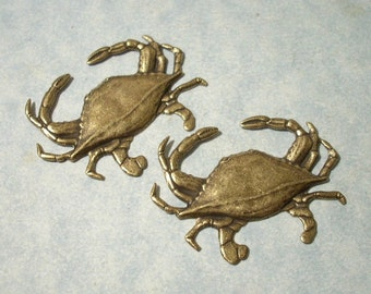 2 Oxidized Brass Crab Stampings, Brass Stamping, Top Drill for Necklace Pendant
