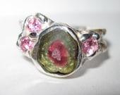 SALE- California Crystal Tourmaline Ring W25 OOAK USA Made Hand Cut Treasurings Jewelry Jerry Burkhart artist signed