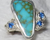 SALE-  Nevada Royston Mine Turquoise #42 Natural Ring OOAK USA Hand Made Treasurings Jewelry Jerry Burkhart artist signed Sterling Silver