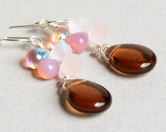 Smoky Gems Earrings - Smoky Topaz Earrings - Pink and Topaz Earrings - Sterling Silver