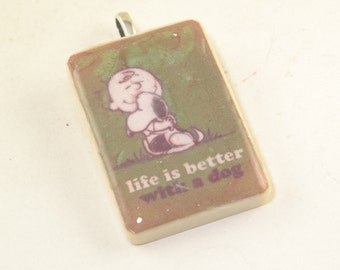 Life Is Better With A Dog Pendant Charlie Brown Snoopy