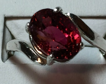 Red Tourmaline silver ring
