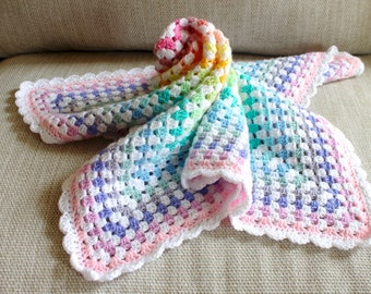 Pastel and white baby blanket