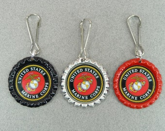 ZIPPER PULLS USMC | Marine Corps | Tags Bottle Caps Lanyard Hooks Backpacks Coats Diaper Bags Purse School Daycare Babysitter Kids Adults