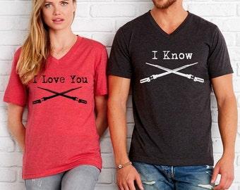 Set of 2 I Love you I Know Lightsaber shirts Unisex Cute geeky nerdy shirt screenprint