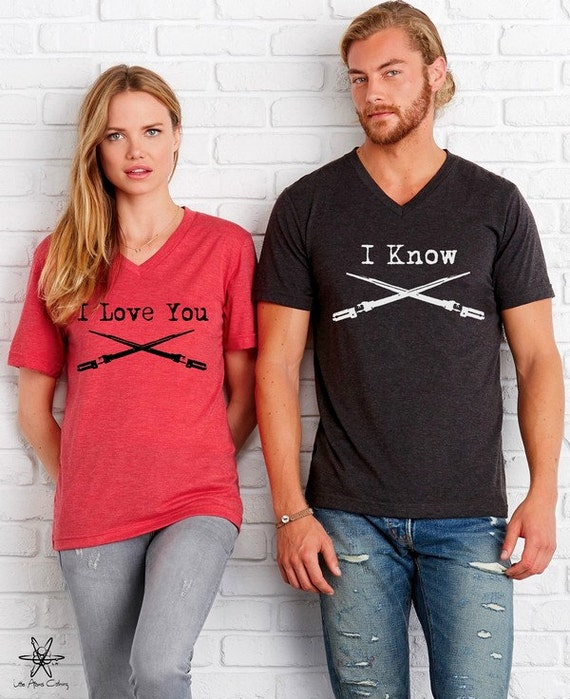 Set of 2 Star Wars Inspired I Love you I Know Lightsaber shirts Unisex Cute geeky nerdy shirt screenprint geek gifts for fans