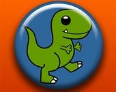 TRex - 2.25 Inch Large Button / Magnet / Bottle Opener / Pocket Mirror / Keychain - T-Rex Dinosaur Cute - Sick On Sin