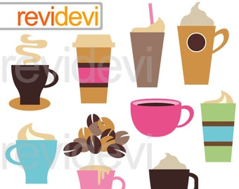 Coffee break clipart - coffee cups, cappuccino, cafe clipart - digital images - commercial use - instant download
