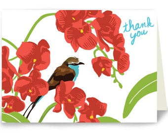 Thank You Tropical Bird in Orchids - Box of 8 cards
